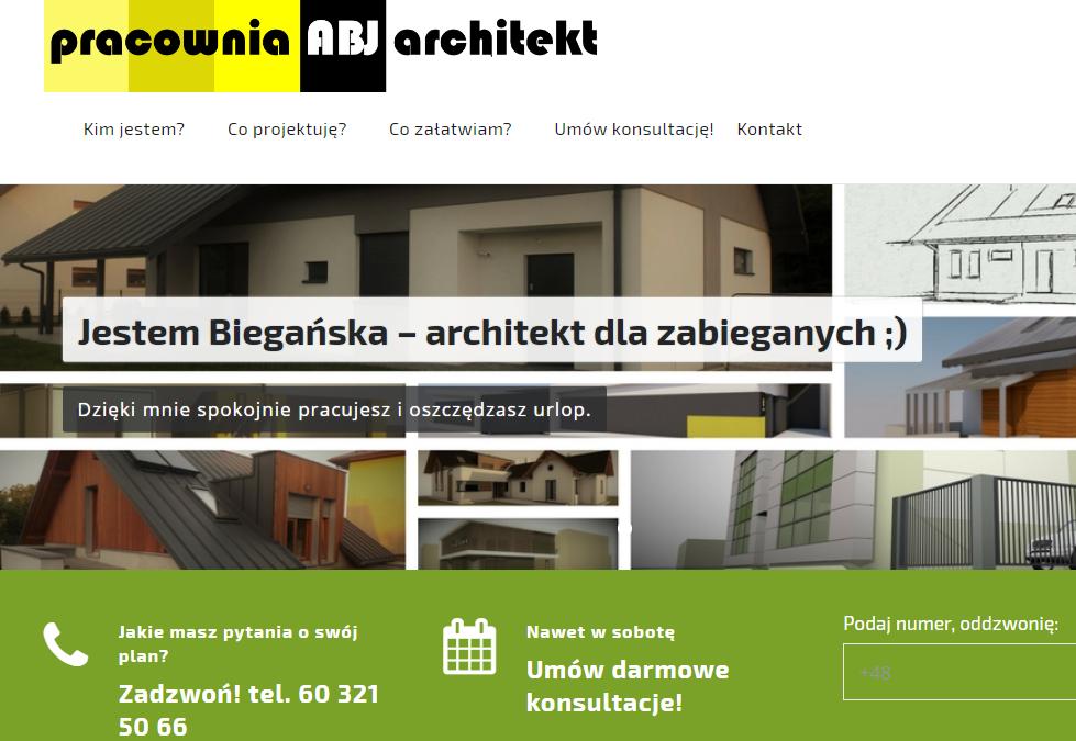 Strona www dla 'zabieganych' klientów pracowni ABJarchitekt