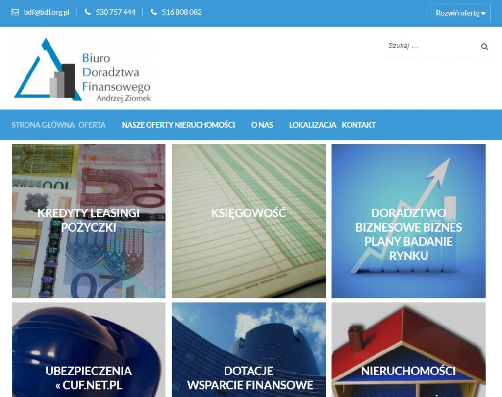 Strona www dla Biura Doradztwa Finansowego i ofert nieruchomości